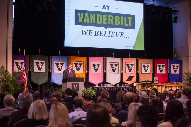 Chancellor Nicholas S. Zeppos recognized 10 faculty for their accomplishments in research, scholarship or creative expression at the fall assembly Aug. 23 in the Student Life Center. (Anne Rayner/Vanderbilt)