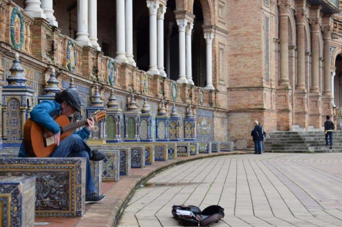 """""""Sevilla Musician at Plaza de España,"""" Jackson Dunn, Spring 2018."""