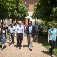 Mike Perez leads SCUP tour participants through campus. (Vanderbilt/Susan Urmy)
