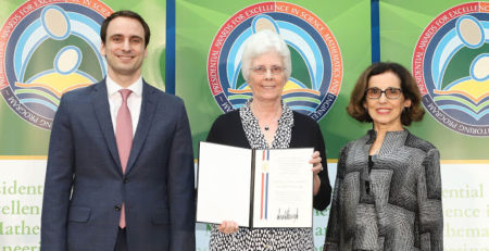 Shepherd (center) with NSF Director France Cordova and White House official. photo courtesy of the National Science Foundation