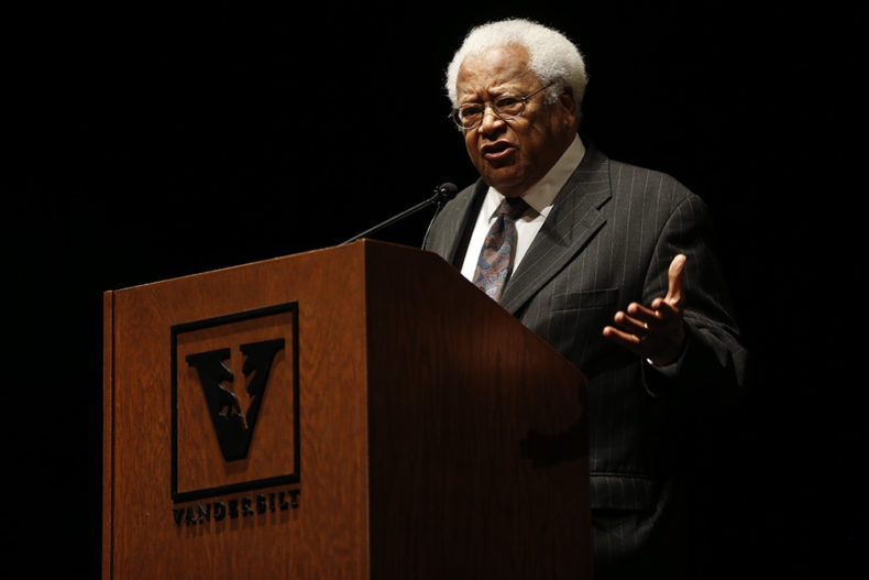 Rev. James Lawson delivering the keynote address to conclude Vanderbilt's 2016 MLK Commemoration (John Russell/Vanderbilt)
