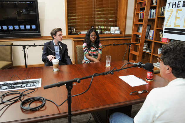 "Seniors Ryan Connor and Jami Cox sat down for an interview with Chancellor Nicholas S. Zeppos for ""The Zeppos Report."" (Vanderbilt University)"