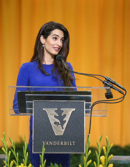 International human rights lawyer Amal Clooney received Vanderbilt University's 2018 Nichols-Chancellor's Medal when she addressed graduates and their families on Senior Day May 10 in Memorial Gym. (Joe Howell/Vanderbilt)