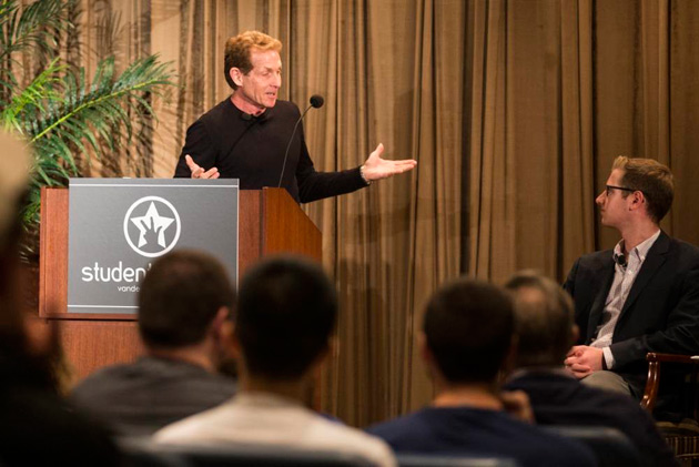 Skip Bayless, BA'74, conducted a Q&A with student media and alumni. Sitting to the Bayless' right is Cutler Klein, who introduced Bayless, from Vanderbilt Student Communications. (Joe Howell/Vanderbilt)