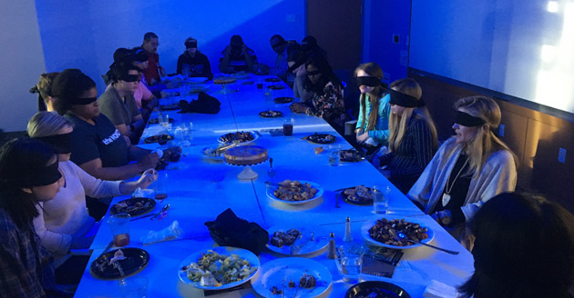 Dinner in the Dark challenged guests to eat a meal with others while blindfolded. (Photos courtesy of Deanna Meador)