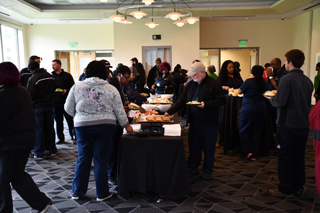Members of Vanderbilt's Plant Operations and Public Safety departments enjoying lunch. (Vanderbilt University)