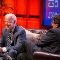 Chancellor Nicholas S. Zeppos hosted Vice President Joe Biden for a conversation in Langford Auditorium April 10. (Joe Howell/Vanderbilt)