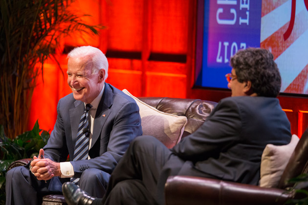 Chancellor Nicholas S. Zeppos hosted Vice President Joe Biden for a conversation in Langford Auditorium April 10. (Joe Howell/Vanderbilt)