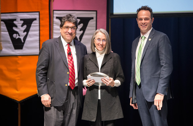 Chancellor Nicholas S. Zeppos, Harvie Branscomb Distinguished Professor Award recipient Kate Daniels, and Faculty Senate Chair Geoffrey Fleming. (Joe Howell/Vanderbilt)