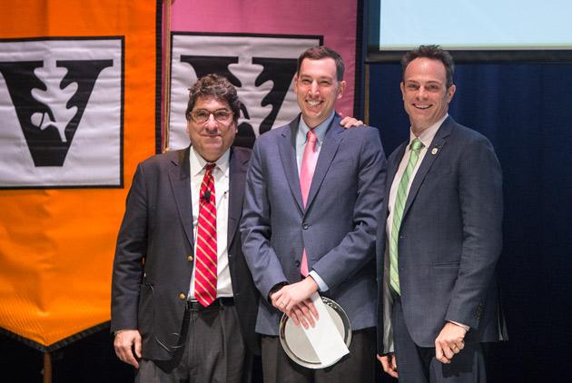 Chancellor Nicholas S. Zeppos, Jesse Ehrenfeld, and Faculty Senate Chair Geoffrey Fleming. (Joe Howell/Vanderbilt)