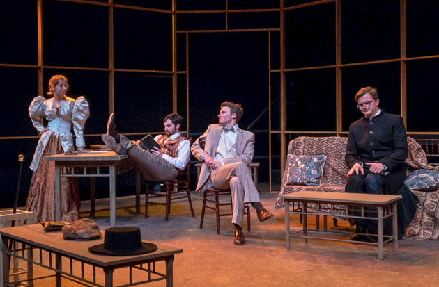Cast members (l-r): Mrs. Warren, played by Jessica Meyer; Sir George Crofts, played by Cole Carlin; Frank Gardner, played by Ian Gile; and Sam Gardner, played by Barton Christmas. (Phillip Franck/Vanderbilt)