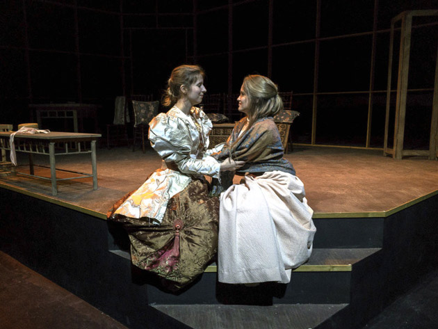 (L-r) Mrs. Warren, played by Jessica Meyer, and her daughter Vivie Warren, played by Mary Marguerite Hall. (Phillip Franck/Vanderbilt)