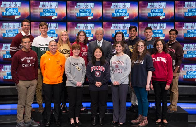 "Host Alex Trebek and the 2018 ""Jeopardy!"" College Championship contestants. (Photo courtesy of ""Jeopardy!"")"