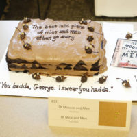 "The entry ""Of Mousse and Men"" won Most Appetizing at the first Edible Books Festival hosted by Vanderbilt Libraries April 2. (Steve Green/Vanderbilt)"