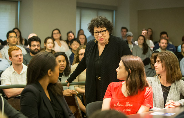 Justice Sonia Sotomayor walked through the lecture hall as students asked questions during her April 3 talk at Vanderbilt Law School. (Joe Howell/Vanderbilt)