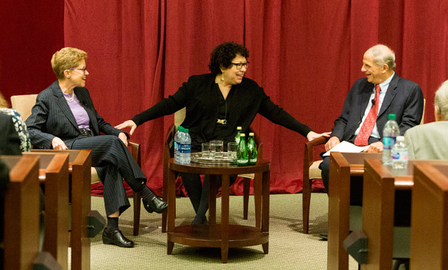 Justice Sonia Sotomayor (center) was introduced at her April 3 talk by fellow Yale Law School classmates and current Vanderbilt Law School faculty Ellen Wright-Clayton (left) and Ed Rubin (right). (Joe Howell/Vanderbilt)