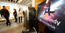"An ArtLab pop-up exhibition included ""Pinpoints,"" created by David Weintraub to track stars. (Steve Green/Vanderbilt)"