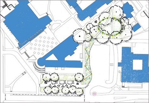 A rendering of the area to be used for the Central Neighborhood pop-up park. (Vanderbilt University)