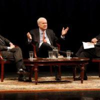 Chancellor Nicholas S. Zeppos (right) hosted MSNBC's Chris Matthews (center) and Vanderbilt Distinguished Visiting Professor Jon Meacham (left) for a Chancellor's Lecture Series discussion March 27. (Steve Green/Vanderbilt)