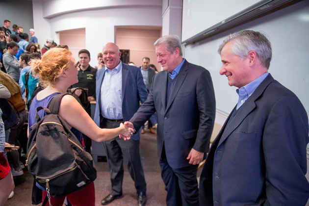 Vice President Al Gore greets students March 26 following the Leadership class taught by professor John Geer (left) and Jon Meacham (right). (John Russell/Vanderbilt)