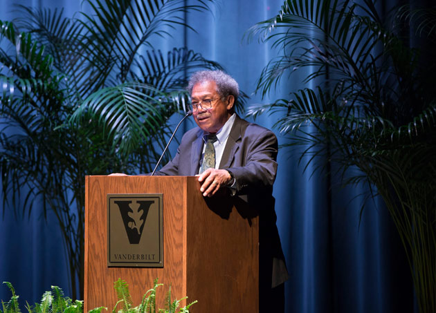 Thomas C. Holt, the James Westfall Thompson Professor of American and African American History at the University of Chicago, delivered the keynote address for the Wrestling With Our Past conference March 22. (Susan Urmy/Vanderbilt)