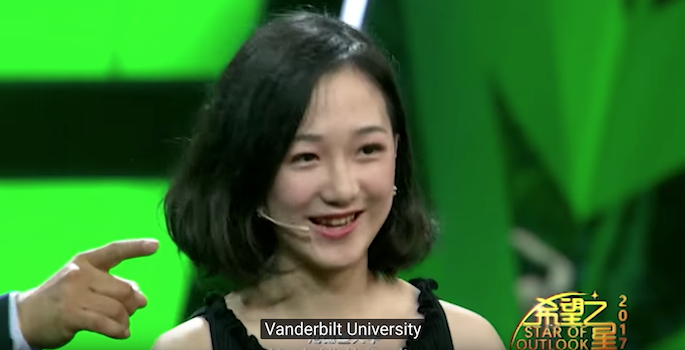 Screenshot of Ivy announcing that Vanderbilt is her choice