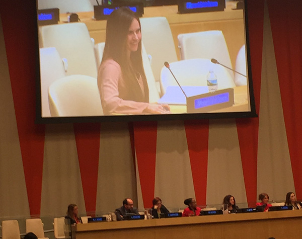 Madelynne Grace Myers, BA'17, advocates for gender equality in the STEM fields during the UN International Women and Girls in Science Forum.