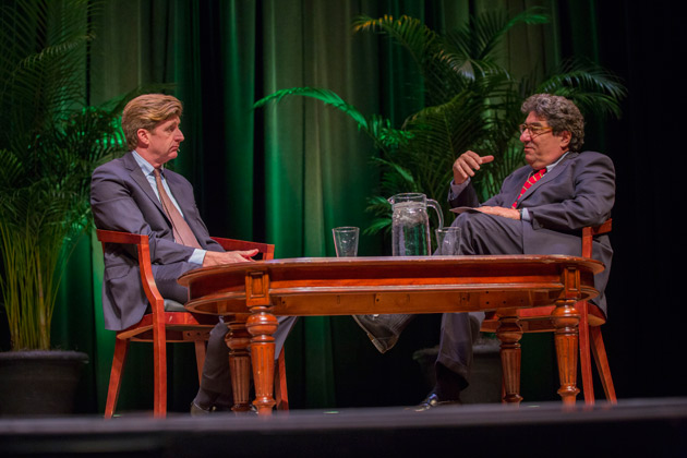 Former U.S. Rep. Patrick J. Kennedy and Chancellor Nicholas S. Zeppos discussed mental health and addiction care advocacy March 13 in Langford Auditorium. (Anne Rayner/Vanderbilt)