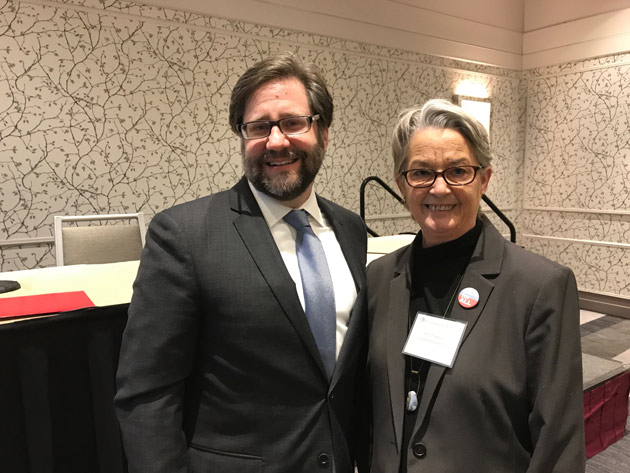 Jon Parrish Peede, senior deputy chairman of the National Endowment for the Humanities and NEH chairman nominee, and Mona Frederick, executive director of the Robert Penn Warren Center for the Humanities at Vanderbilt. (Vanderbilt University)