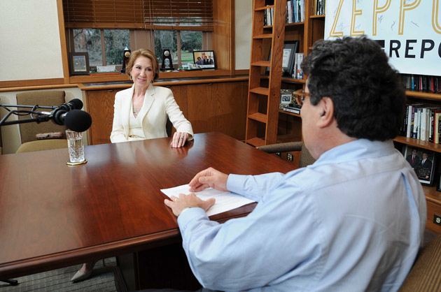 """Chancellor Nicholas S. Zeppos (foreground) interviews 2016 GOP presidential candidate Carly Fiorina for """"The Zeppos Report."""" (Vanderbilt University)"""