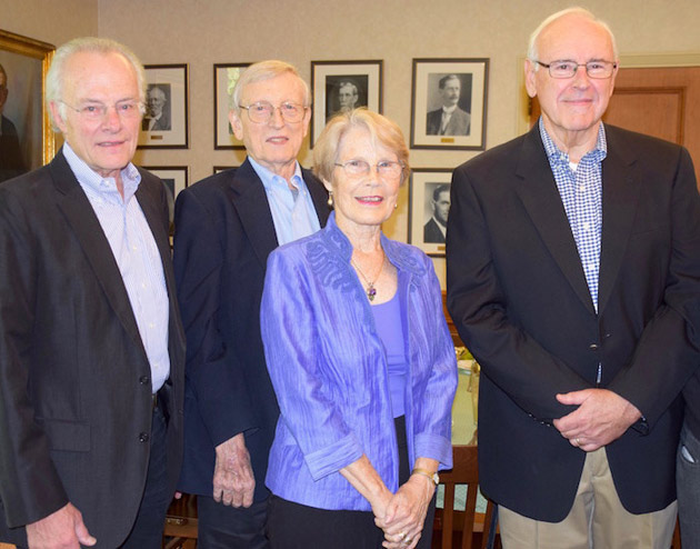L-r: Doug Knight, Gene TeSelle, Penny TeSelle, and Doug Meeks at a luncheon for emeritus faculty and spouses hosted by Dean Emilie Townes. (Vanderbilt University)