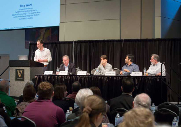 A Feb. 23 forum at the Student Life Center featured a panel of Vanderbilt professors sharing research that brought further context to Nashville's proposed transit plan. (Susan Urmy/Vanderbilt)