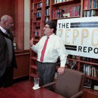 Jelani Cobb, the Ira B. Lipman Professor of Journalism at Columbia University, and Chancellor Nicholas S. Zeppos. (Vanderbilt University)