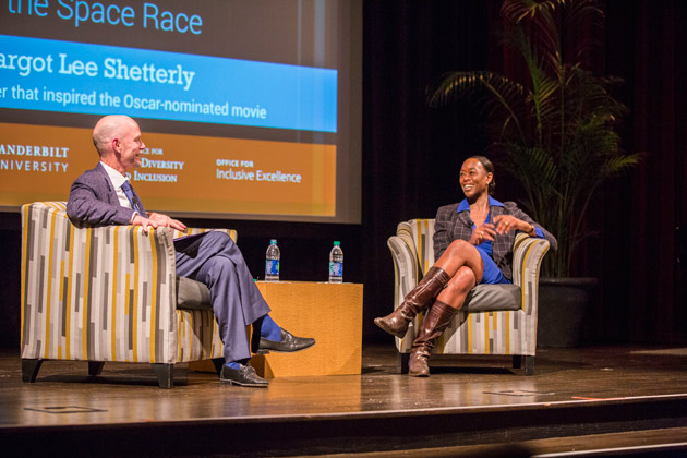 Graduate School Dean Mark Wallace (left) conducted a Q&A with Margot Lee Shetterly following her talk. (Anne Rayner/Vanderbilt)