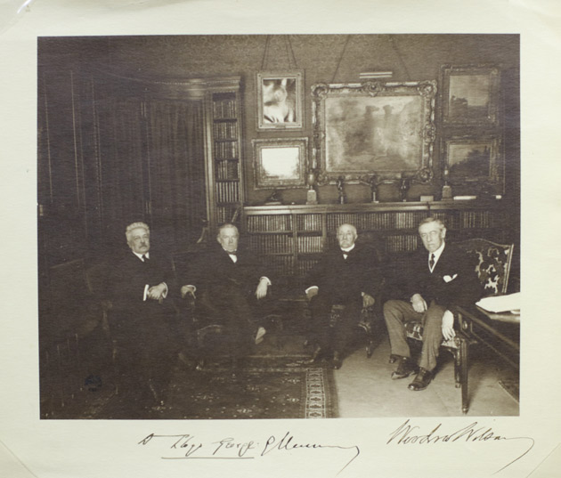 President Woodrow Wilson (far right) with David Lloyd George, Georges Clemenceau and Vittorio Emanuele Orlando at the signing of the Treaty of Versailles. Photograph, June 28, 1919. (James G. Stahlman Autograph Collection, Vanderbilt University Special Collections)