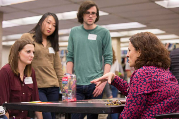 Honora Eskridge (right), director of the Stevenson Science & Engineering Library, organized the design-thinking boot camp and discussion Feb. 3. (Anne Rayner/Vanderbilt)