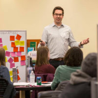 Kevin Galloway, Vanderbilt's director of Making, leads a design-thinking boot camp Feb. 3. (Anne Rayner/Vanderbilt)