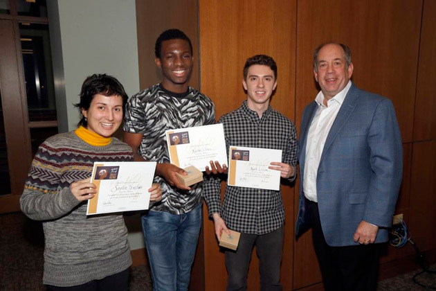 Sophia Druffner, Kevin Ifiore and Kurt Lezon—first place winners in the Library Design Challenge—with David Blum, A&S '77 and Wild Bunch member. (Vanderbilt University)