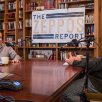 """Chancellor Nicholas S. Zeppos (right) interviewed presidential historian and Distinguished Visiting Professor Jon Meacham for """"The Zeppos Report"""" podcast. (Anne Rayner/Vanderbilt)"""