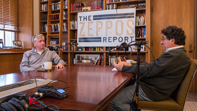 "Chancellor Nicholas S. Zeppos (right) interviewed presidential historian and Distinguished Visiting Professor Jon Meacham for ""The Zeppos Report"" podcast. (Anne Rayner/Vanderbilt)"