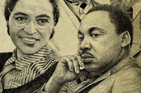 (L to r) Rosa Parks and Martin Luther King Jr.
