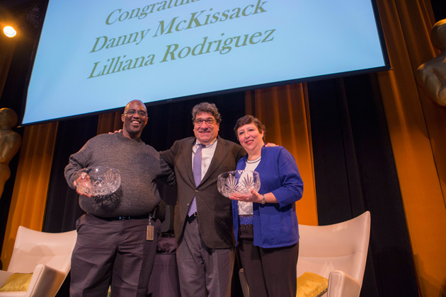 Chancellor Nicholas S. Zeppos is flanked by the winners of the 2017 Commodore Award, Danny McKissack (left) and Lilliana Rodriguez (right). (Anne Rayner/Vanderbilt)