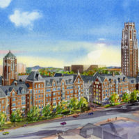 Rendering of new residential colleges along West End Avenue