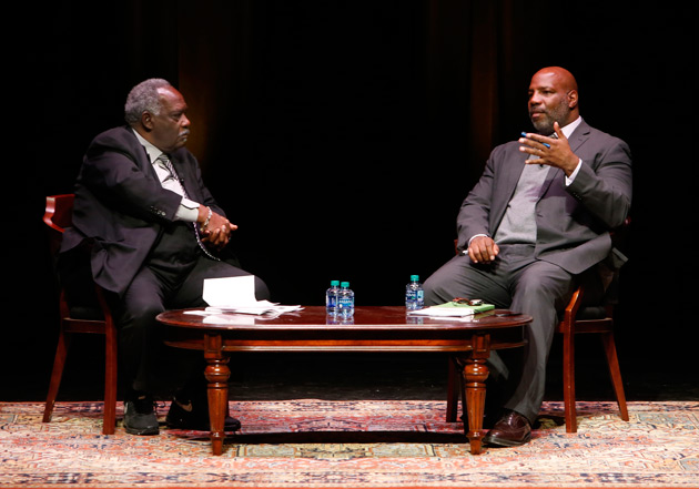 David Williams, vice chancellor for athletics and university affairs and athletics director, moderated a question-and-answer session with Jelani Cobb following his talk. (Steve Green/Vanderbilt)