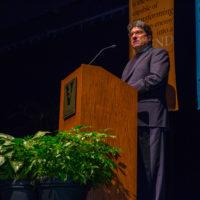 Chancellor Nicholas S. Zeppos at the MLK keynote event Jan. 15 in Langford Auditorium. (Anne Rayner/Vanderbilt)