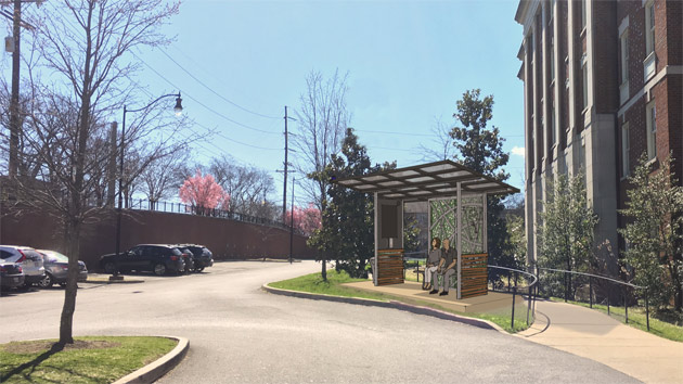 The first shelter will be installed at The Martha Rivers Ingram Commons, between Hank Ingram House and Murray House, over winter break. (Vanderbilt University Public Safety)