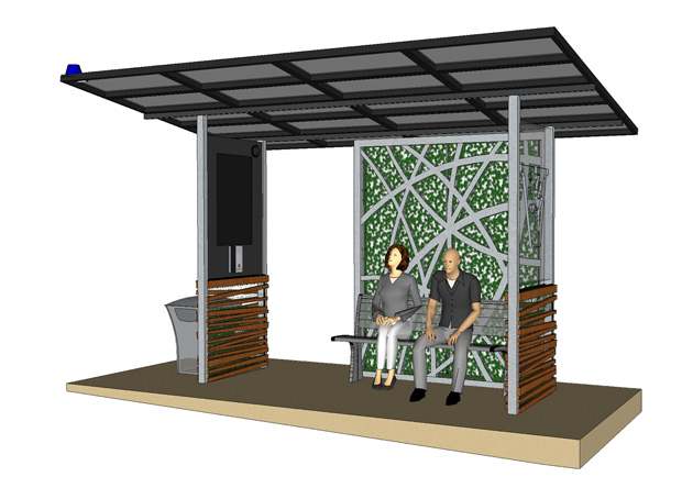 A sketch of the newly designed Vandy Van shelters to be installed at various stops throughout campus. (Vanderbilt University Public Safety)