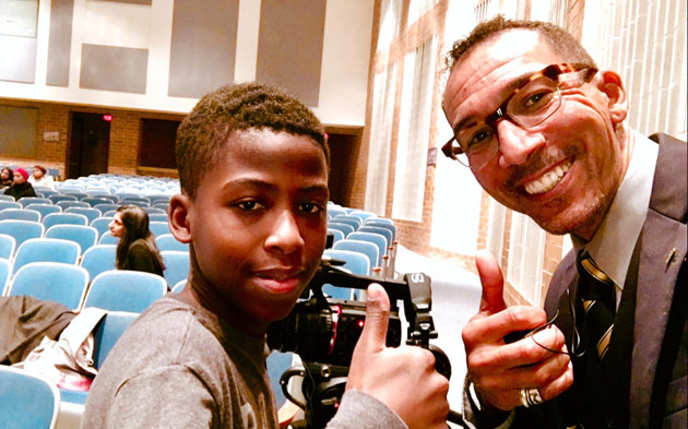 L-r: One of the young men who was inspired by Gilman Whiting at a Chicago school district symposium on addressing the achievement gap among black and Latino boys. Whiting gave the symposium's keynote address. (courtesy of Gilman Whiting)