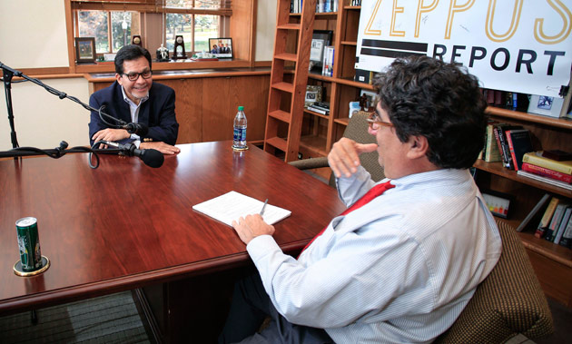 "Chancellor Nicholas S. Zeppos interviewed former U.S. Attorney General Alberto Gonzales for ""The Zeppos Report."" (Vanderbilt University)"