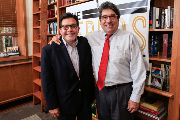 Former U.S. Attorney General Alberto Gonzales and Chancellor Nicholas S. Zeppos (Vanderbilt University)